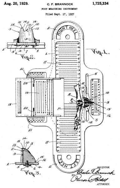 Brannock Patent Drawing