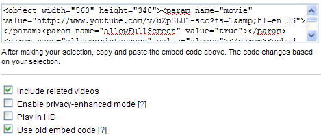"The ""old embed code"" option uses an Object tag, which works fine with WordPress"