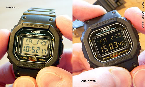 Casio converted from positive to negative LCD displayc